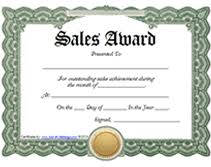 sle certificate of recognition template printable sales awards certificates templates