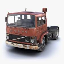 volvo model trucks poly rusty truck f7 3d max