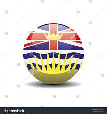Flag British Columbia British Columbia National Circle Button Flag Stock Vector