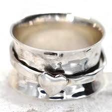 worry ring sterling silver jewellery hammered worry ring with single heart