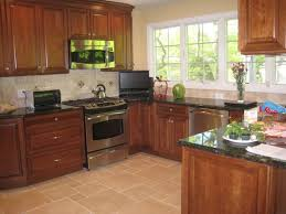 Dark Cherry Wood Kitchen Cabinets by Kitchen Interesting Small Kitchen Decoration Using Black Glass