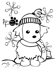 coloring pages puppy snow coloring