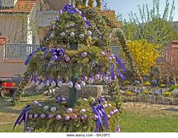 german easter egg tree water well with easter eggs stock photos water well with easter