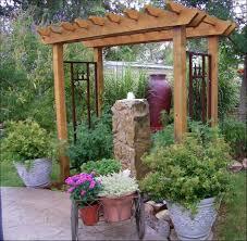 decoration small wooden pergola plus decorative fountains newest