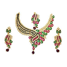 coloured stone necklace images Buy surat diamond green white coloured stone pink green jpg