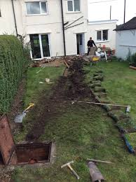 new drainage pipe installation tree root damage in parbold