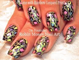 robin moses nail art lime green nails with rainbow animal print
