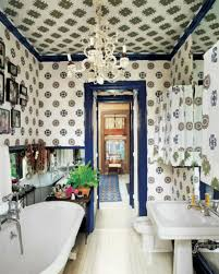 bathroom with wallpaper in the walls and ceiling also using