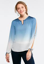 ombre blouse tie slit sleeve ombre top shirts blouses cato fashions