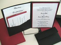 wordings simple red and black pocket wedding invitations with blue
