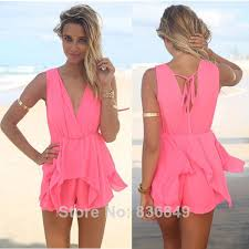 pink jumpsuit womens summer womens fashion overalls color pink backless v