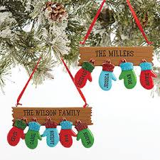 personalized family ornaments warm mitten family