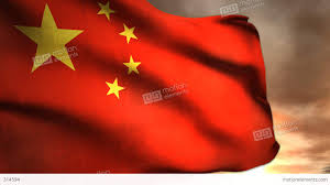 Chineses Flag 1187 Communist China Flag Sunrise Sunset Chinese Red Stars Stock