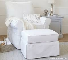 White Chair With Ottoman Pb Comfort Grand Swivel Rocker Ottoman Pottery Barn