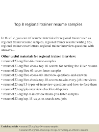 Sample Training Resume by Top8regionaltrainerresumesamples 150528233558 Lva1 App6892 Thumbnail 4 Jpg Cb U003d1432856336