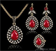 red stones necklace images Ring earring necklace set women vintage red stones pendant jpg
