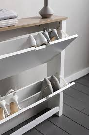 tromso shoe storage unit 2 drawer in white and natural shoe