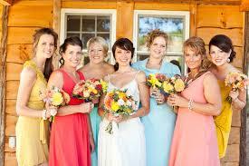 mix match bridesmaids dresses colorful