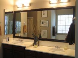 fabulous huge bathroom mirrors ideas with brown frame color also