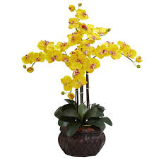 Silk Flowers In Vase Arrangements Nearly Natural Phalaenopsis With Decorative Vase Silk Flower