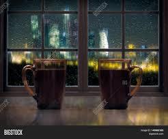 two mugs drink tea coffee on image photo bigstock
