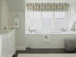 Roman Shades Black - black and white damask roman shade transitional bathroom ken