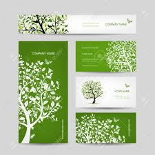 business cards design tree with birds royalty free