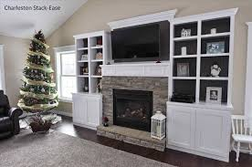 stacked stone fireplace with built ins fireplace with builtins