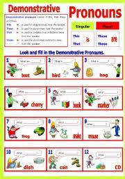 worksheet demonstrative pronoun s