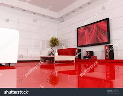 red white living room home theater stock illustration 27171529