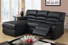 small black leather reclining sectional sofa set recliner left