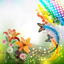 background with lilies and butterflies royalty free cliparts
