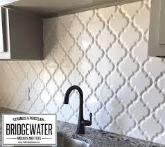 interior arabesque whisper white glazed ceramic wall tile beveled