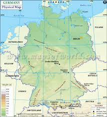 map of germany showing rivers physical map