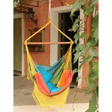 furniture chic brazilian cotton fabric hammock chair with fringe