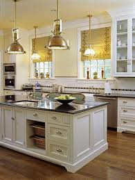 small kitchen island and pendant lighting in rustic your