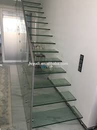 diy internal modern residential floating tempered glass stairs
