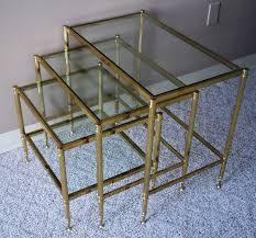 buy nest of tables maison jansen brass glass nesting tables julesmoderne com