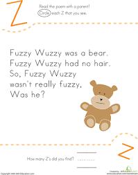 find the letter z fuzzy wuzzy fuzzy wuzzy nursery rhymes and