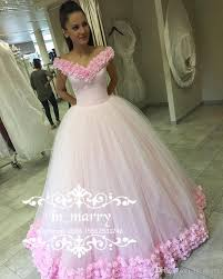 luxury russian arabic pink flowers prom dresses 2017 ball gown off