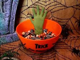 animated grabbing monster hand candy bowl haloween party prop