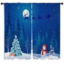 Santa Curtains Christmas Custom Size Window Curtains