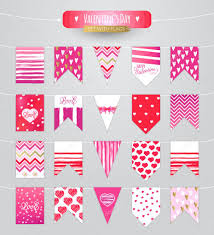 Valentine S Day Flags Set With Flags Happy Valentine U0027s Day U2014 Stock Vector