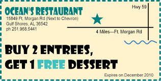 coupons for restaurants oceans restaurant coupon gulf shores