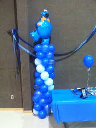 Cookie Monster Baby Shower Decorations Cookie Monster Balloon Topiary Centerpiece I Like The Whirly