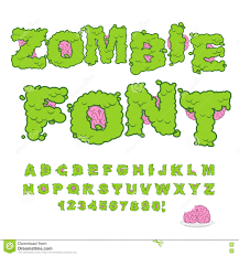 zombie font scary green letters and brain horrible halloween a