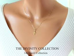 cross necklace women images 14kt solid gold cross necklace women simple small charm jpg