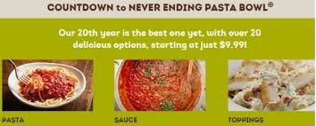 Olive Garden Never Ending Pasta Bowl Is Back - olive garden never ending pasta bowl promotion is back freebies