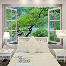 livingroom restaurant free shipping 3d windows tree landscape wallpaper mural