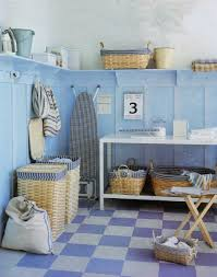 cute laundry room design layout with blue sky theme and long high